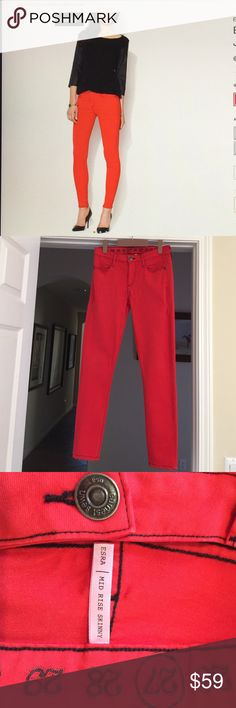 Skinny Jean Earnest Sewn, Esra Mid Rise Skinny Jean, Red, size27, made in the USA, stretchy, 86% Cotton /11% Polyester/3% Spandex, worn in good condition overall Earnest Sewn Jeans Skinny