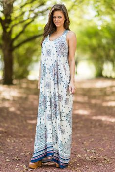 """""""Just Wanna Have Fun Maxi Dress, Snorkel Blue""""Girls just wanna have fun! They also want to look adorable and be comfy while they do that! #newarrivals #shopthemint"""
