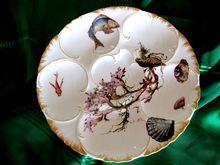 MY FAVORITE SO FAR! Antique Haviland Oyster Plate ~ BIG FISH ~ Sea Shells ~ Kelp - Ruby Lane - Antique and Vintage