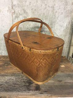 Farmhouse Baskets, Vintage Picnic Basket, Magazine Holders, Magazine Rack, Small Tins, Large Baskets, Flower Basket, Rustic Wedding, Wedding Decor