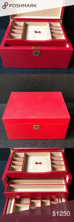 """Smythson Grosvenor 3 Drawer Jewelry Box Red W10.5 x H6 x D8"""". Light gold lock and hardware. 3 trays with compartments. Unique deep red color. Excellent condition. Smythson Other"""