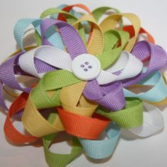 Multi-colored loopy bow, would be cute for the girls