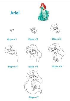 Easy Disney Drawings, Easy Drawings, Baby Animal Drawings, Cartoon Drawings, Drawing For Beginners, Drawing For Kids, Disney Drawing Tutorial, Little Mermaid Drawings, Plus Size Art