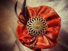 Red Asian Print Flower Headband, Red brocade flower, womens headband, Brocade flower, black feathers. $9.25, via Etsy.