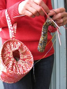 Such a clever idea for carrying yarn! Knit or crochet wristlet - site is etsy to purchase, but photo is for inspiration Knit Or Crochet, Crochet Crafts, Yarn Crafts, Fabric Crafts, Sewing Crafts, Loom Knitting, Knitting Patterns, Sewing Patterns, Crochet Patterns