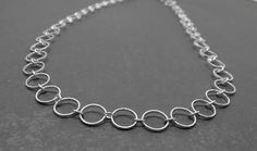 Long Chain Necklace Circle Sterling Silver by GirlBurkeStudios, $75.00