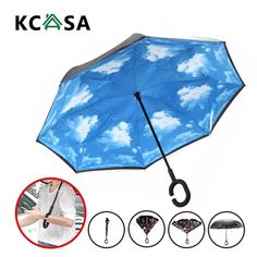 KCASA UB-2 Reverse Umbrella Flowers Creative Double Layers Upside Down Self-standing Car Rain Gear