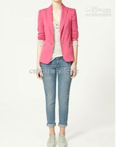 Wholesale Women's A Buckle Slim Blazer Candy-colored casual jackets women Suit Jacket size XS-L, Free shipping, $16.82/Piece | DHgate Mobile