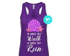 Disney ariel mermaid shirt Glitter upwhere they walk run tank Top Disney marathon race razor back running exercise fitness women girls kids
