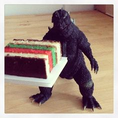 Italian Godzilla never goes to someone's house empty handed. by m patrizio, via Flickr