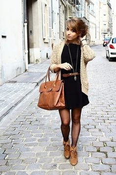 fall outfit: dress w/ tights, booties,  boyfriend cardigan. But no belt!