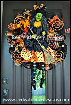 Halloween Witch Wreath Halloween Wreath by RedWithEnvyDesigns, $145.00