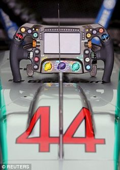 The steering wheel of the Mercedes Formula One car of Lewis Hamilton of Britain. Hamilton Logo, F1 Lewis Hamilton, Lewis Hamilton Formula 1, Racing Wheel, F1 Racing, Drag Racing, Alain Prost, Mercedes Lewis, Mercedes Benz