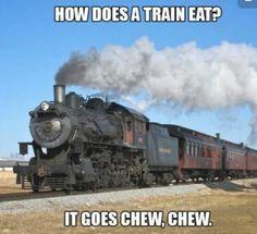 How does a train eat? Punny Puns, Puns Jokes, Jokes And Riddles, Memes, Stupid Jokes, Funny Jokes For Kids, Corny Jokes, Kid Jokes, Cheesy Jokes