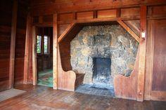 Arlene Baxter presents a Carr Jones Chalet-Style Rustic Treasure Inglenook Fireplace, Rustic Fireplaces, Fireplace Hearth, Stone Fireplaces, Kitchen Fireplaces, Indoor Fireplaces, Arts And Crafts Interiors, Arts And Crafts House, Craftsman Interior
