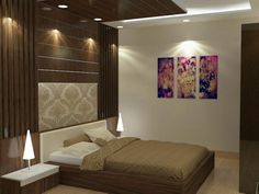 Wooden Wall Bedroom Decor 3d View