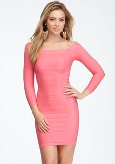 bebe Open Detail Sleeve Shine Bodycon Dress