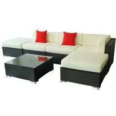 Outsunny 6 Pcs Outdoor Rattan Sofa Wicker Sectional  $950