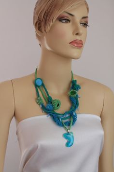 Blue Turquoise Green Crochet Knit Necklace / Gift by levintovich, $54.00