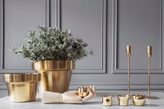 Brass Objects for the Home by Skultuna (est. Home Interior, Interior Styling, Interior Design, Shades Of Grey Paint, Mad About The House, Flower Pot Design, Terracotta Pots, Home Living, Flower Pots