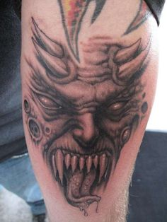 Amazing Grey In K Demon Tattoo On Leg