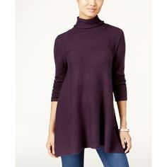 Style & Co. Turtleneck Tunic Sweater, featuring polyvore, women's fashion, clothing, tops, sweaters, dark grape, turtle neck top, long turtleneck sweater, long purple sweater, turtleneck sweater and style&co sweater
