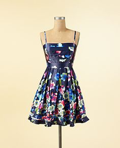 JESSICA SIMPSON: Floral Printed Strap Dress [Blue] $89.99