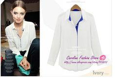 New Fashion Ladies' elegant long sleeve chiffon blouse Turn-down Collar casual slim shirts quality brand designer tops