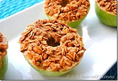 eat yourself skinny recipes~Peanut Butter Granola Apple Rings Lunch Snacks, Yummy Snacks, Snack Recipes, Yummy Food, Tasty, Healthy Recipes, Fun Food, Healthy Foods, School Snacks