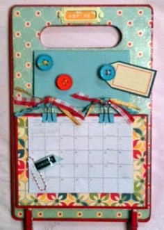 Altered Art Mini Calendar from a Cutting Board from Altered Artworks via The Ivy Cottage Blog