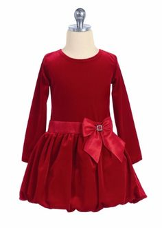 Red Velvet Girls Holiday Dress Long Sleeve Bodice & Tucked Skirt C995…