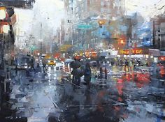 New York City Red by Mark Lague Oil ~ 18 x 24
