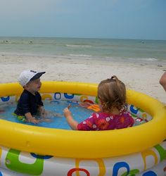 Each morning we set up the kiddie pool for the toddlers - shaded it  with a big beach umbrella and surrounded them with our beach chairs.  The kids played nonstop  and we were able to relax and chill out. So much fun!