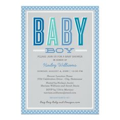 Baby Boy Shower | Chic Type in Blue and Gray Cards