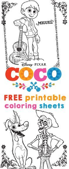 COCO coloring sheets printables from Disney Pixar to celebrate the movie COCO! COCO coloring sheets &; activities are free to print from your home computer. #PixarCOCO #freeprintables #PIXAR