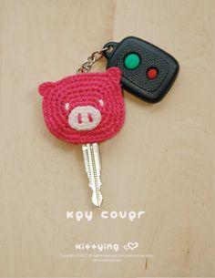 Piggy Key Cover Crochet PATTERN, SY.. on Luulla