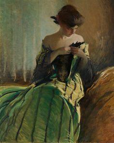 "spoutziki-art: "" Study in Black and Green - John White Alexander (1856–1915) The Metropolitan Museum of Art """