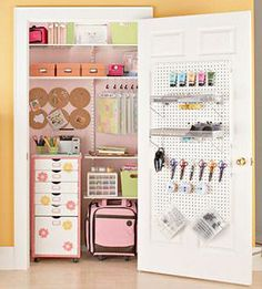It's Written on the Wall: Organized and Amazing Craft Rooms-Part 1   Transform a chaotic closet into an inspirational scrapbook storage space with easy-to-install metal shelving units that are adjustable. Elfa Shelves can be configured however you like.