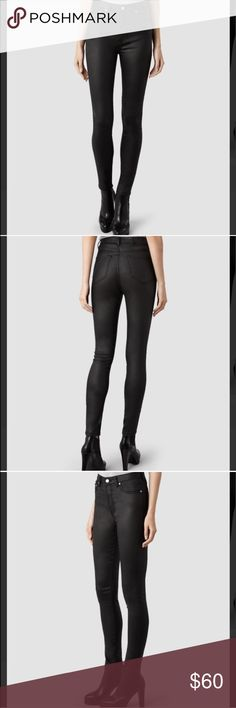NWT all saints Brand new w tag waxed all saints black jeans. Never worn. All Saints Jeans Skinny