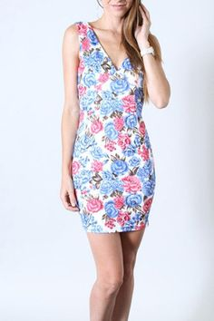 Blue Floral Bodycon Dress – Loves Creation