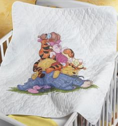 Baby Janlynn Stamped Cross Stitch Kit, by Snoozy Day Quilt - Eeyore, Pooh, Cross Stitch Kits, Cross Stitch Patterns, Cross Stitch Baby Blanket, Sewing Crafts, Sewing Projects, Sewing Ideas, Disney Gift Card, Cross Stitching, Baby Quilts