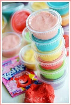 Kool-Aid Playdough Recipe-I've seen it everywhere. It's time to try it with the 50 old pouches of Kool-Aid we have in the pantry. Craft Activities, Toddler Activities, Indoor Activities, Toddler Fun, Kids Fun, Kool Aid Play Dough Recipe, Projects For Kids, Craft Projects, Craft Ideas