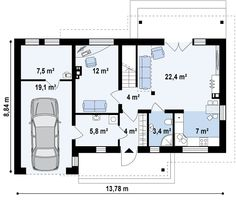 DOM.PL™ - Projekt domu SZ5 Z210 GLt CE - DOM OZ7-20 - gotowy projekt domu