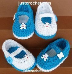 Free baby crochet pattern for Mary-Jane shoes http://www.justcrochet.com/mary-jane-shoes-usa.html #justcrochet #patternsforcrochet