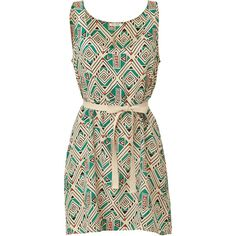 AMERICAN VINTAGE Turquoise Diamond Print Belted Silk Dress ($135) ❤ liked on Polyvore