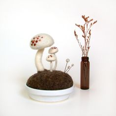 White Mushrooms - Pink Spots Nature Scene Pincushion Made To Order via Etsy. Great photo styling at FoxtailCreekStudio