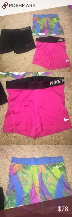 Nike Pro LOT Pink - Size Medium , Colorful - Size Medium , Black - Size Small. The black ones are the ONLY pair that have been worn and they were scratched up in the watch (flaws on nike symbol). The other two were never worn / do not fit Nike Pants
