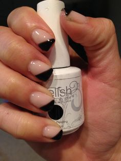 Modern French Gel Nails using Gelish's Black Shadow and OPI's BubbleBath #gelnails #black #babypink #french