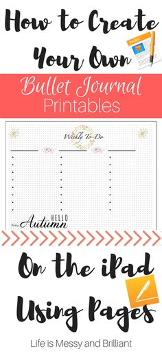 How to Create Bullet Journal Printables on the iPad Using Pages Making A Bullet Journal, Bullet Journal How To Start A, Bullet Journal Junkies, Bullet Journal Layout, Bullet Journal Inspiration, Journal Ideas, Bullet Journals, Journal Themes, Bujo