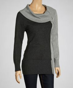 Take a look at this Light Gray Color Block Cowl Neck Sweater by Nancy Yang on #zulily today! $34 !!